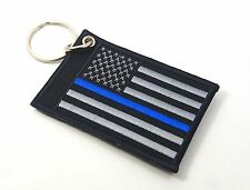 USA FLAG THIN BLUE LINE POLICE EMBROIDERED ID CREDIT CARD HOLDER KEYCHAIN CASE