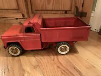 Vintage Structo 1960's Pressed Steel Dump Truck Red White Wall Tires