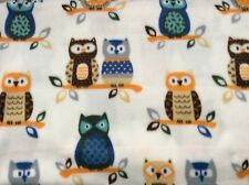 """Colorful Owls animal print on white fleece fabric, 60""""w, sold BTY"""