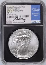 RARE 2015 (P)  NGC MS-69 Silver Eagle, Black Holder, Ed Moy Signed Blue Label