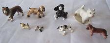 HAGEN RENAKER Porcelain 8 Miniature Figures DOGS Lot w/Stickers-shepard,Collie