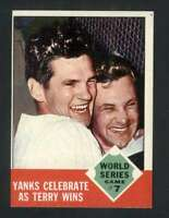 1963 Topps #148 World Series Game 7 Yanks Celebrate as Terry Wins NM/NM+ Yankees
