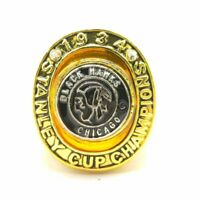1934 Chicago Blackhawks Stanley Cup 18k GP Brass Championship Ring & Wood Box