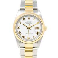 Rolex Men's Datejust 36 Gold & Steel 16203 Wristwatch - White Roman, Oyster