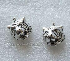 12pcs tibetan silver tiger head charms findings h0940