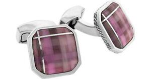 RT by TATEOSSIAN Rhodium CUFFLINKS Purple Fiber Optic Glass New in Box 55% off!