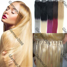 """Ombre Hair Easy Loop Micro Rings Remy Human Hair Extensions Straight 100s 16-26"""""""