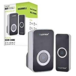 Lloytron MIP3 Black Door Bell Chime Plug In Doorbell Wireless Kit 32 Melodies