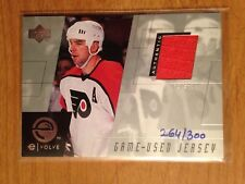2000 Upper Deck Evolve game used jersey card John Leclair Flyers 264/300