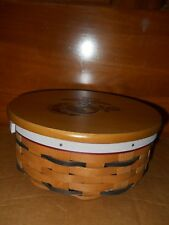 """New Longaberger 7"""" Round Keeping Basket Protector Marines Logo Lid Armed Forces"""