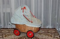Old 1950s-1960s German Wicker Baby Doll Carriage with Pierrot Doll