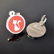 personnalisé métal rond rouge chat étiquettes identité ANIMAUX disques