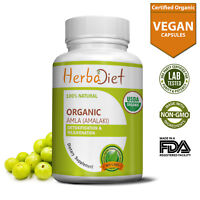 Organic Amla Vegan Capsules Indian Gooseberry 500mg Detox Digestion Healthy Hair