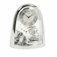 Rhythm Silver Look Mantel Clock with Rotating Pendulum Domed Shape