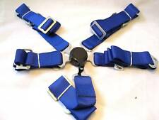 """NEW SPORTS RACING HARNESS SEAT BELT 2"""" 5/4 POINTS FIXING BLUE QUICK RELEASE"""