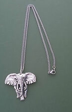 Pewter pendant, elephant design, made in Cornwall, 17.5 surgical steel chain