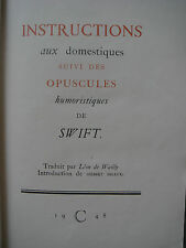 SWIFT - INSTRUCTIONS AUX DOMESTIQUES - OPUSCULES - 1948 - EXEMPLAIRE NUMEROTE