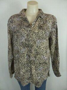 BRAVE SOUL LONDON black brown Leopard print long sleeve shirt blouse L10 12