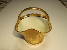 Quality Old Noritake Golden Poinsettia Leaves Exterior Handled Porcelain Basket