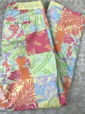 Lilly Pulitzer Kelly Ankle Pants Size 6 Patchwork Parrot Hibiscus Banan Tropical