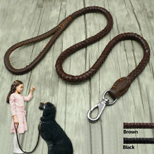 Braided Genuine Leather Dog Leash Handcraft Pet Walking Leads Lead Durable Black