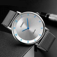 SKMEI Ultradünne Armbanduhr mit minimalistischem Edelstahlgewebe