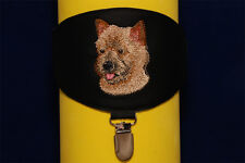 Cairn Terrier arm band ring number holder with clip. For dog shows.