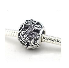 S925 Silver EURO Dragonfly Meadow & Rose Floral Charm Bead by Pandora's Angels