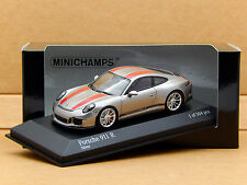 1/43 Porsche 911 R 991 Silver/Red Stripes 911R 2016 Minichamps Model 410066222