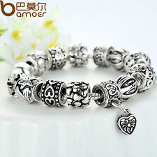 Women Tibetan Silver European Hearts Black Charms Bracelet  With Beads Christmas