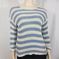 Oui Blue Cream Stripe Knitted Jumper Size 16 Button Back Rolled Sleeve