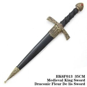 Medieval King Sword Draconic Fluer De Lis Sword Dagger Miniature