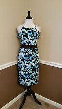 NWT $69 Modcloth In the Sheer Future Dress 8 Blue Floral Sheath Sheer Waist Midi