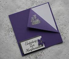 5 Einladungskarten zur Konfirmation lila/silber Handarbeit incl. Kuvert
