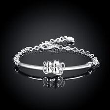 """925Sterling Silver Jewelry 2 Little Cat Women Bracelet Bangle Chain 8"""" HLB389"""