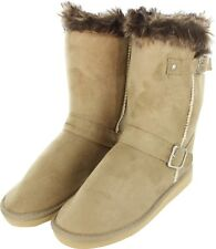 Womens Fur Mid Calf Boots Shoes Faux Winter Warm Suede Sheepskin Beige Size 5