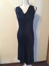 BANANA REPUBLIC Little Black DRESS Silk Lined Drape Neckline Sleeveless size 4