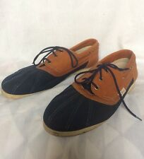 LL BEAN Men's Boat Moc Oxford Sailing Shoes Brown Blue Size 11 Made Italy