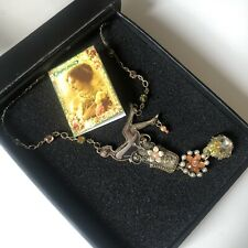 Michal Negrin Flapper Girl 1920s Style Necklace Flowers Jewel Crystal With Box