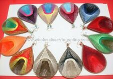 Wholesale of 12 pairs of Thread earring Assorted colors Large Size 221C