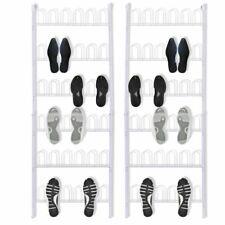 vidaXL 2 pcs 18 Pairs Shoe Racks Storage Stands Footwear Organisers Steel White