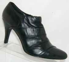 White House Black Market black leather scalloped zip bootie heel 10M