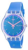Swatch Polablue Blue Dial Silicone Strap Quartz SUOK711 Men's Watch