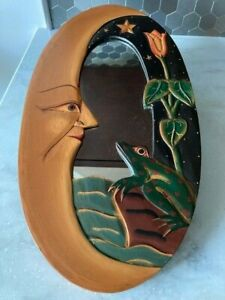 Mirror, Celestial, Wood Frame, Moon, Frog, Hand Carved & Painted, Whimsical