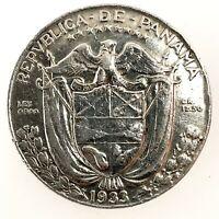 PANAMA SILVER 1933 1/2 BALBOA - LUSTER - KM12.1