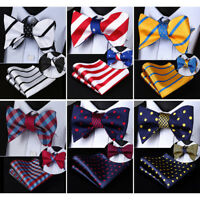 HISDERN Mens Woven Bowtie Striped Double Side Self Bow Tie Handkerchief Set#RU1