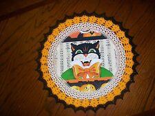 New Handmade Round Crochet Doily--Halloween Black Cat with Bowtie