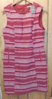 "BNWT RED & WHITE SLEEVELESS LINED OASIS DRESS. UK 14. LENGTH 36"""