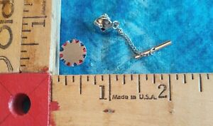 LANCIA Brushed Sterling Silver Round Tie Tack w Chain/ Red/Blue Enamel Bxd 4.4g