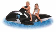 Large Inflatable Jumbo Whale Rider Ride On Beach Swimming Pool Toy Lilo